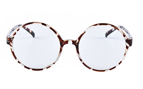 Agstum Retro Round Glasses Frame Clear Lens Fashion Circle Eyeglasses 52mm (Leopard, 52mm) ()