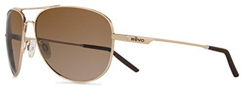 Revo Re 3087 Windspeed Polarized Sport Sunglasses Aviator, Polished Gold, 61 ()