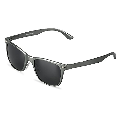 Wayfarer Polarized Sunglasses UV Protection Sports Floating Cycling Leadallway TM (metal grey frame darkgrey lens) (Polarisierte Wayfarer)