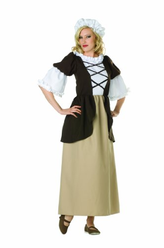 [RG Costumes Women's Colonial Peasant Lady, Brown/Tan, 6-8/Medium] (Colonial Costumes Dress Lady)