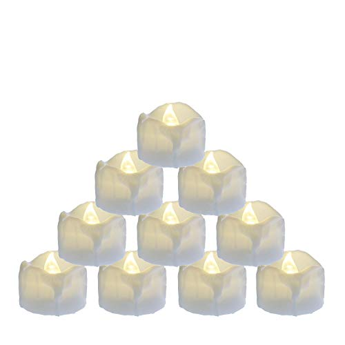 Led Tea Lights with Timer Battery Operated 12pcs Flickering Flameless Candles With 100 Fake Rose Petals, Electric Tealights Automatic ON OFF (6 Hrs on 18 Hrs Off) for Thanksgiving Day, Christmas Party]()