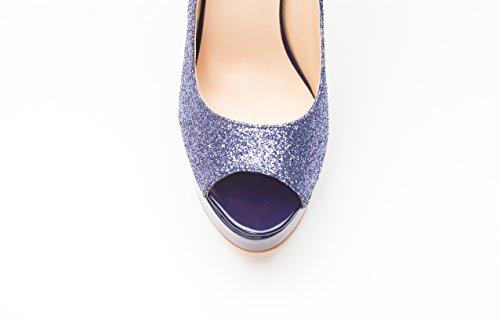 onlymaker Women's Extreme High Fashion Peep Toe Pumps Handmade For Wedding Party Dress Stiletto Slip On Shoes Glitter Purple bMcqo