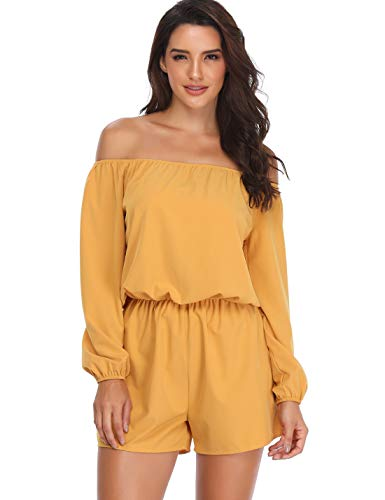 MISS MOLY Off Shoulder Rompers for Women Strapless Boat Neck 3/4 Sleeve Casual Jumpsuits with Belt,Yellow,X-Small