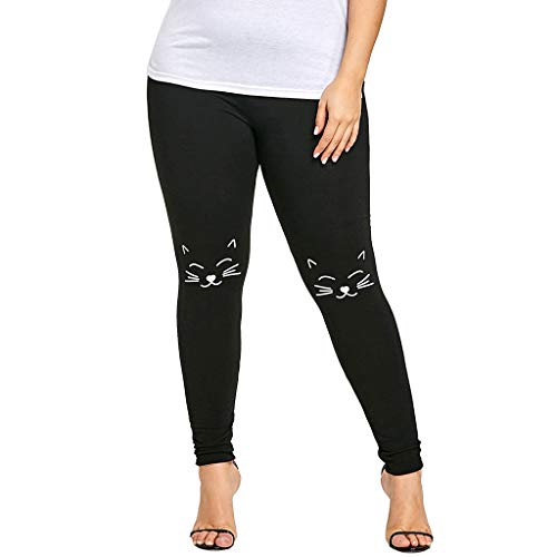 PASATO Women S-2XL Plus Size Pants Yoga Sport Fitness Pants Cat Print Knee Leggings Trousers (Black,XL=US:L)