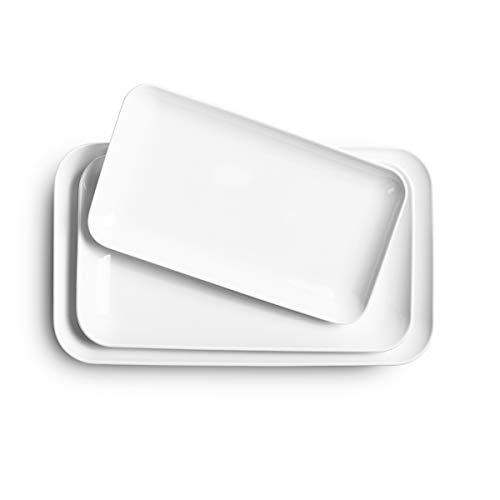 Large Serving Platter Set -Delling 16/14/12inch White Rectangular Dessert Plate/Salad Plates – Serving Trays for Parties…