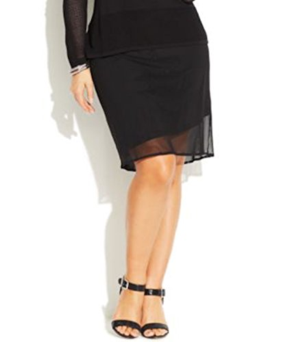 Inc International Concepts Mesh-overlay Lllusion Pencil Skirt Plus Size 0x Black