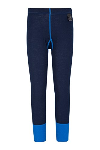 Mountain Warehouse Merino Kids Leggings - Girls Wool Base Layer Pants Blue 3-4 Years ()