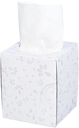 (AmazonBasics Professional Facial Tissue Cube Box for Businesses, 2-Ply, White, 95 Tissues per Box, 36 Boxes)