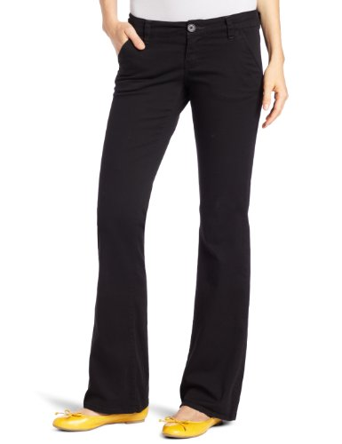 Unionbay Juniors Heather Slash Pocket Uniform Long Bootcut Pant , Black, 7