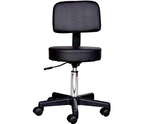 HomCom Adjustable Swivel Salon Massage Spa Seat Tattoo Chair Stool - Black