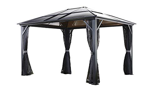 Sojag 500-5153903 Meridien Hardtop Gazebo Outdoor Sun Shelter, 10' by 12', Charcoal
