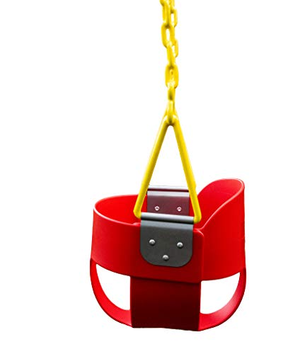 Squirrel Products High Back Full Bucket Toddler Swing with Exclusive Chain & Triangle Dip Pinch Protection Technology - Red