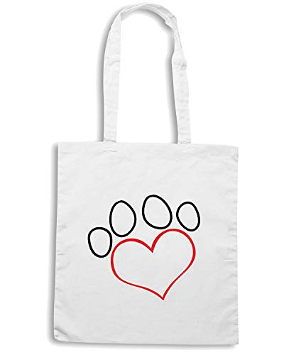 Borsa DOGS PRINT WES0629 Bianca SILHOUETTE Shopper PAW LOVE 7wz7S4pq