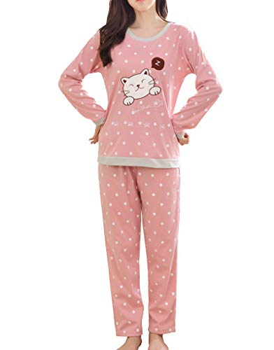 Vopmocld Big Girls Long Sleeve Sleepwears Cute Sleepy Cat Polka Dots Pajamas Loungewears by Vopmocld