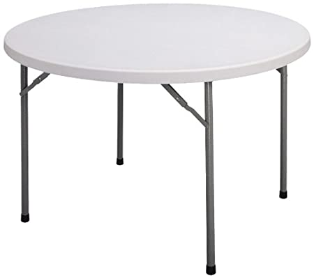 Gray Granite Correll CP48 Light Weight Economy Blow-Molded Plastic Folding Table 72 Round