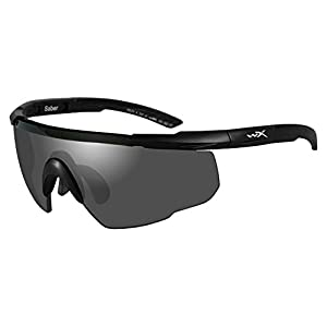 Wiley X Saber Advanced Sunglasses, Smoke Grey/Light Rust/Vermillion, Matte Black