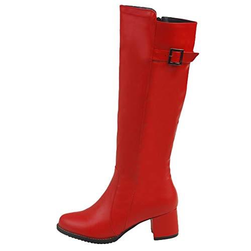 Show Shine Women's Fashion Mid Chunky Heel Knee High Riding Boots (8, red)