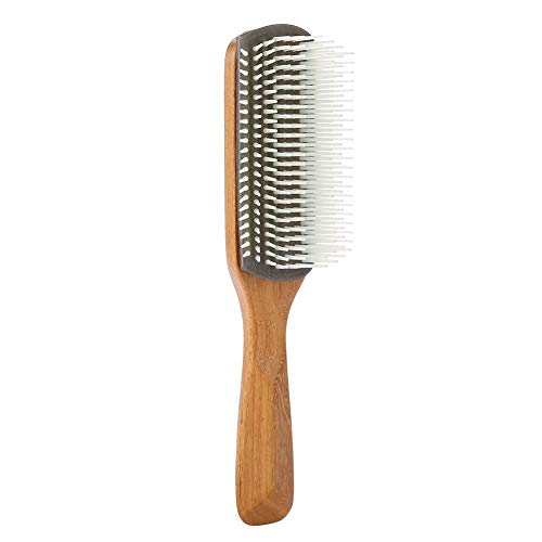 Hair Brush Massage Nature Bamboo Superior Material in Anti-static for Men Professional Hair Brushes for Straightening Hair Nine Rows Combs(White)
