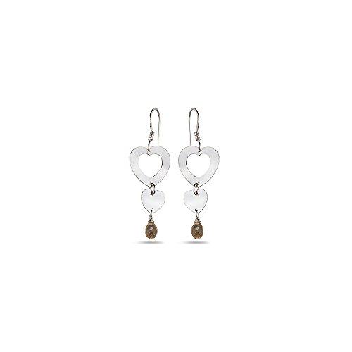 1.00-2.00 Cts Smokey Quartz Duet Heart Earrings in Sterling Silver - Heart Smokey Quartz Earring