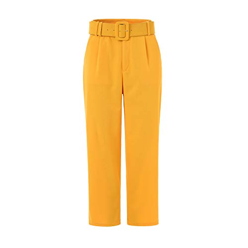 HONEYLOVE Womens Casual Pants High Waist Belted Straight Leg Slacks Office Lady Trousers (Large, Yellow) ()