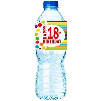 CakeSupplyShop Item#018RWB Happy 18th Birthday Rainbow Water Bottle Labels -15ct