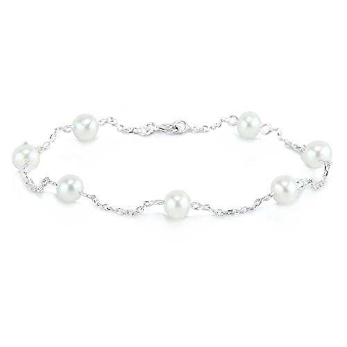 14K White Gold Tin Cup Bracelet With Cultured Freshwater Pearls 7-8.5 Inch 14k White Gold Tin Cup