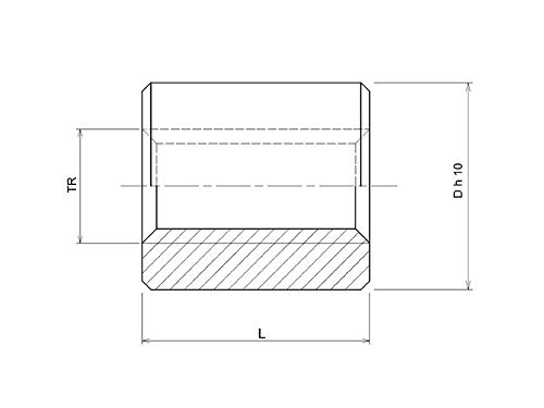 Tuerca roscada trapezoidal ELSM 20 x 4 derecha acero D45L40