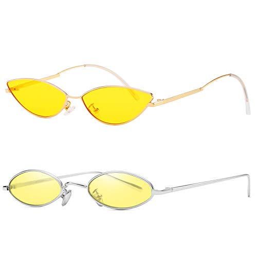 (AOOFFIV Vintage Slender Oval Sunglasses Small Metal Frame Candy Colors (Yellow-2pack))