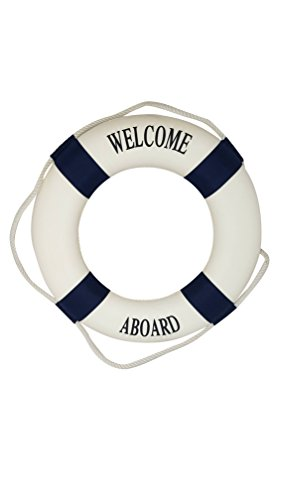 Welcome Aboard - Nautical Decorative Life Ring Buoy - Home Wall Decor - Nautical Decor - Decorative Life Ring Preserver (Decorative Life)