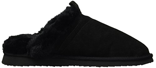 Dearfoams Womens Suede Closed Toe Scuff Slipper - Indoor/Outdoor Padded Slip-Ons With Geniune Suede and Warm Shearling Wool Lining Black JVp4zUlS