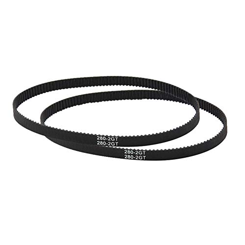 3D Printer Parts and Accessories,dezirZJjx GT2 Closed Loop Timing Belt 110-852mm 6mm Width Rubber Synchronous 3D Printer Parts - GT2-280mm Black