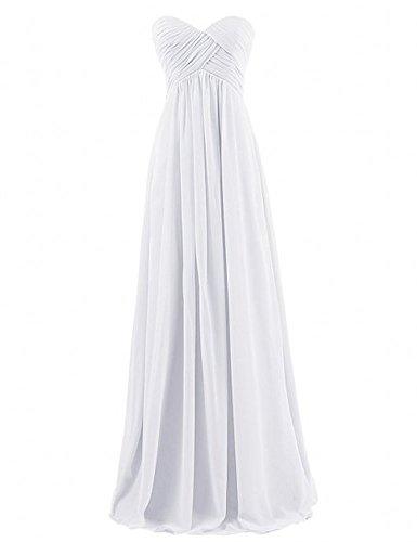 Miranda's Bridal Women's Sweetheart Pleated A Line Long Bridesmaid Dress Ivory US8 - Miranda Ivory Prom Dress