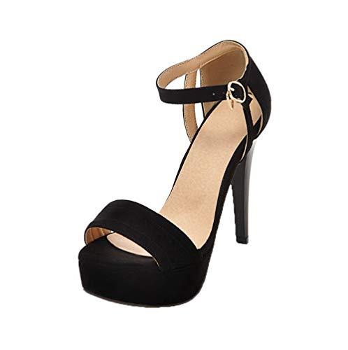 Boucle à AalarDom Femme TSFLH007519 Sandales d'orteil Noir Talon Haut Ouverture 5B7BqHxw