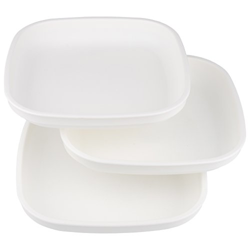 Re-Play Made In USA 3pk Plates with Deep Sides for Easy Baby, Toddler, Child Feeding - White