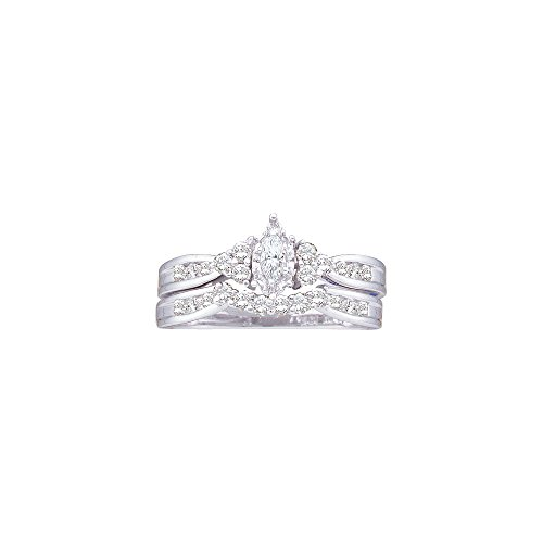 Roy Rose Jewelry 14K White Gold Marquise Diamond .08 Carat Solitaire Womens Wedding Bridal Ring Set 1/2-Carat tw
