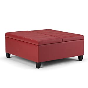 Simpli Home Ellis Coffee Table Storage Ottoman Crimson Red Kitchen Dining
