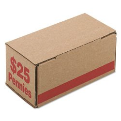 PM Company Corrugated Cardboard Coin Storage with Denomination Printed On Side, Red (Corrugated Cardboard Coin)