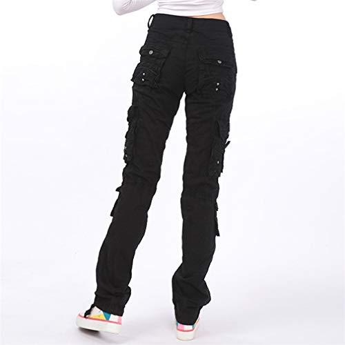 Moda Shorts Mujer Cómodo Cintura Elástico Pantalón Sólido Mujeres Casual Pantalones Cortos de Cintura Media Negro