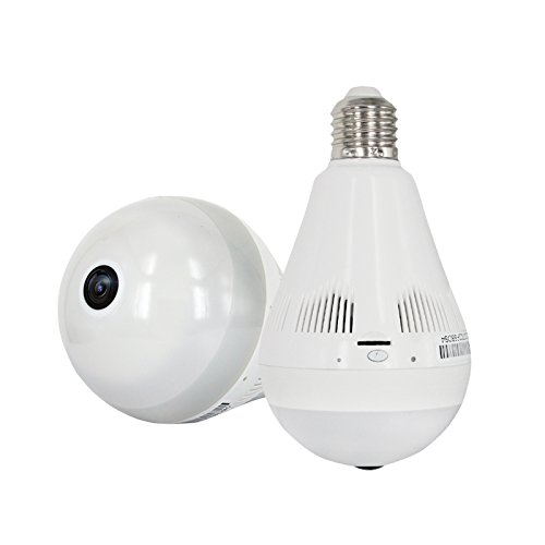 Pomiacam HD 960P 360 Degree Fisheye Panoramic VR Camera with Smart LED Light Wireless Wifi IP Camera Home Security Bulb Hidden Camera for APP Remote View ...