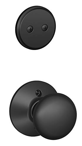 Schlage F94-PLY Plymouth Knob Dummy Interior Pack from the F-Series, Matte Black