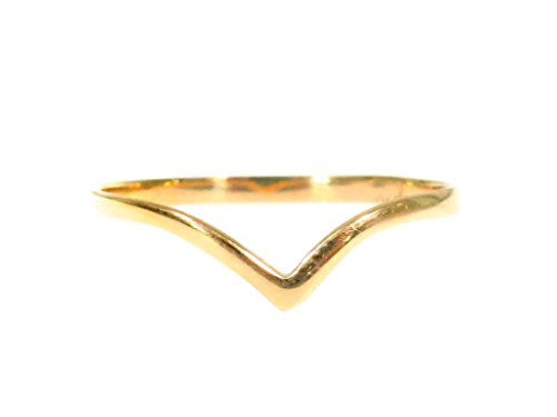 Custom Made Genuine 10K Rose Yellow Gold Hip Hop Style V-shape Band (yellow-gold, 7) by Traxnyc