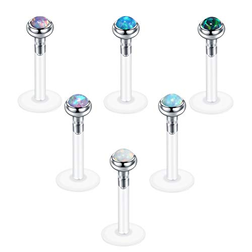 - Xpircn 6PCS 16G 5/16 Bioflex Opal Lip Rings Stud Piercing Labret Monroe Nose Tragus Helix Ear Body Piercings