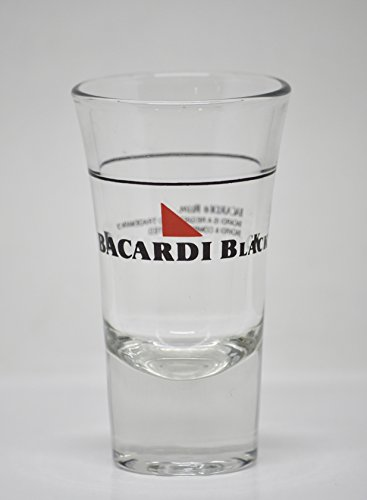 Original Bacardi Black Rum Shot Glass - 1.5 Ounce at Line - Licensed Product