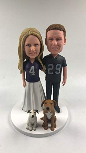 Personalized Wedding Cake Topper Baltimore Ravens Bride Oakland Raiders Groom Ravens Bobble Head Raiders Cake Topper Ravens Wedding Raiders