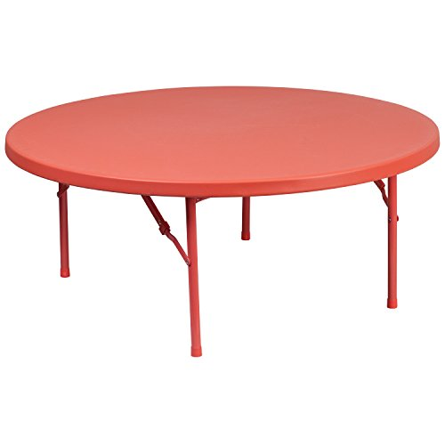 Flash Furniture 48'' Round Kid's Red Plastic Folding Table ()