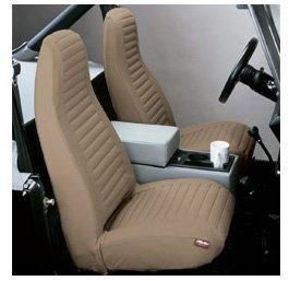 Bestop 29227-15 Black Denim Front High Back Seat Cover Set for 80-83 CJ5; CJ7 76-86; 87-91 Wrangler YJ