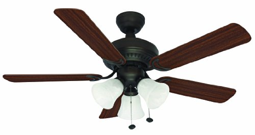 Litex E-BLR44ABZ5C Balmoral Collection 44-Inch Ceiling Fan with Five Reversible Mahogany/Dark Oak Blades and Three Light Kit with Alabaster Glass ()