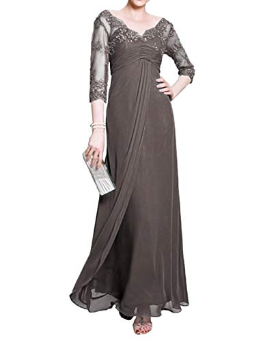 Mother of The Bride Dress with Long Sleeves Chiffon Mother Dress for Beach Wedding