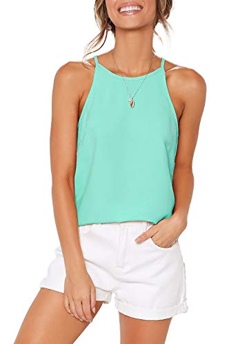 OYANUS Womens Shirts Halter Neck Tank Top Sleeveless Casual Summer Beach Loose Basic Tee Cami Tunic Workout Tops Blouses Mintgreen L