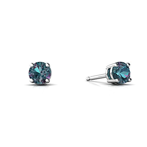 - 14kt White Gold Lab Alexandrite 4mm Round Round Stud Earrings